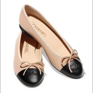 CHANEL CC  Ballerina Flats Beige & Black Size 37